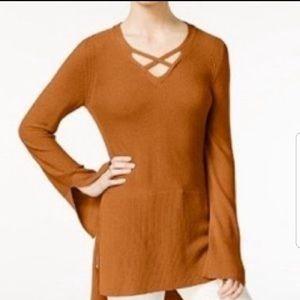Free People Criss Cross Mustard Tunic Sweater Sz L